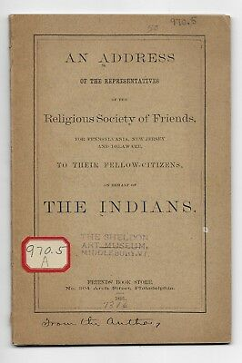 Antique 1891 AN ADDRESS ON BEHALF OF THE INDIANS Native Americans US HISTORY