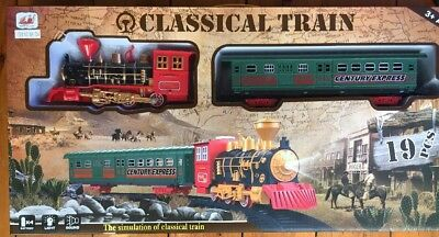 STEAM TRAIN ENGINE SET STEAM ENGINE CARRIAGE SOUND  &LIGHT 78cm DIAMETER TRACK