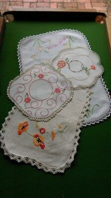Vintage Embroidered Linen Doiley's-Lot 4-Assorted Sizes-Motifs