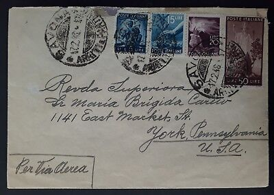 SCARCE 1948 Italy Airmail Cover ties 4 stamps canc Savona to USA