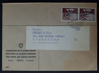 RARE 1957 Switzerland Cover ties 2 x 20c stamps with Official O/Ps canc Bern