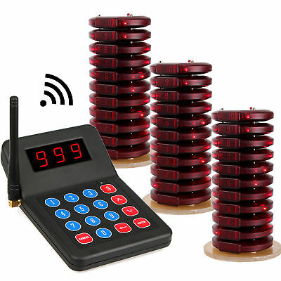 Wireless Paging Queuing 1xTransmitter+30Coaster Pagers System for Restaurant ES