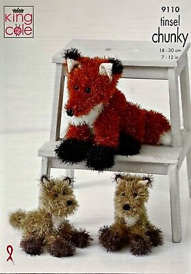 KNITTING PATTERN 2 Sizes Fox Tinsel Yarn KNITTING PATTERN King Cole 9110