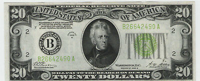 1928 B United States $20 Federal Reserve Note GREEN SEAL  NO RESERVE