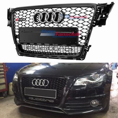 RS4 Style Grill With Quattro Black Frame Chrome Logo For 2009-2012 Audi B8 A4 S4