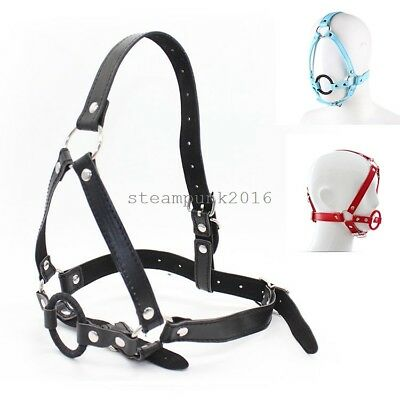 Open Mouth Ball Oral Fixation Ring Harness Face Mask Head Strap Roleplay Harness