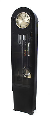 Antique Art Deco Black Lacquer Chiming Longcase Clock c.1935