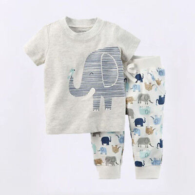 AU Canis Newborn Kids Baby Boys Girls Elephant Tops T-shirt Pants Outfit Clothes