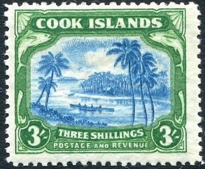 COOK ISLANDS-1945 3/- Greenish-Blue & Grey Sg 145 LIGHTLY MOUNTED MINT V25071