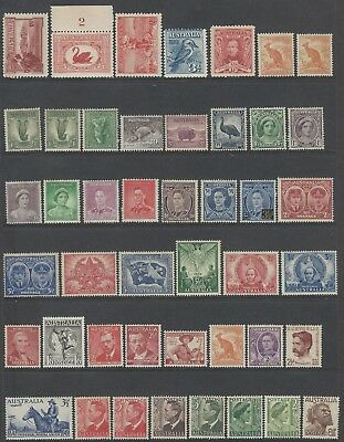 Collection of MH/MLH/MNH Pre Decimal Australian Stamps 4 pages 150 diff Stamps