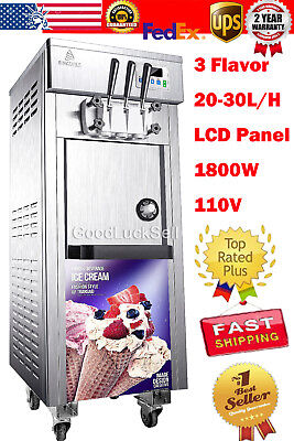 110V Commercial Soft Serve Ice Cream Freezer Machine 3 Flavor 20-30L/H USA FAST