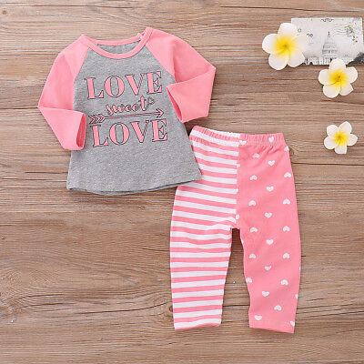 2PCS Toddler Kids Baby Girls Sister Clothes T-shirt Tops+Long Pants Outfits Set