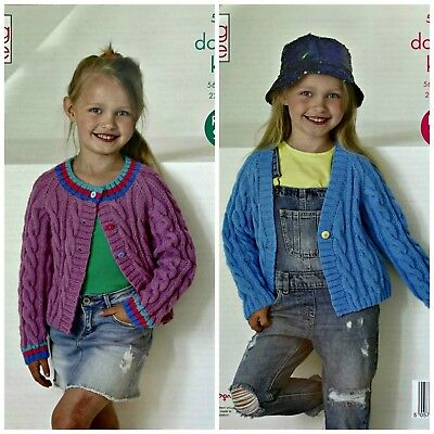 KNITTING PATTERN Childrens Round and V-Neck Cable Cardigans DK King Cole 5262