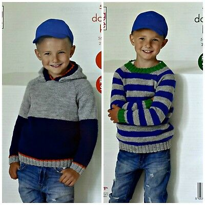 KNITTING PATTERN Childrens Round Neck or Hooded Striped Jumper DK King Cole 5260