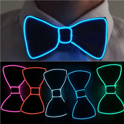 Men's LED EL Wire Necktie Luminous Neon Flashing Light Up Bow Tie For Club Party