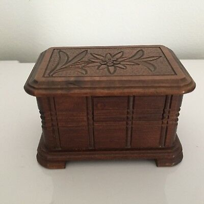 vintage wooden black forest edelweiss flower etched secret opening box