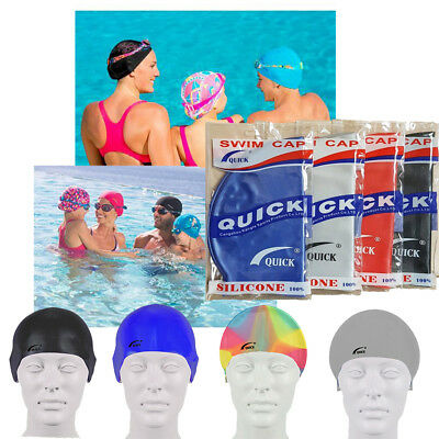 Adult Swimming Black Silicone Elastic Flexible Durable Ladies Gents Swim Cap UK