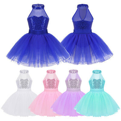 Children Girls Flower Sequin Gymnastics Leotard Ballet Dress Tutu Dance Costume