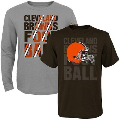 Cleveland Browns Toddler Two-Pack Playmaker Long Sleeve & Short Sleeve T-Shirt