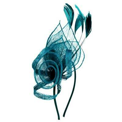 Floral Sinamay Fascinator withFeathers on Satin Covered Alice Band