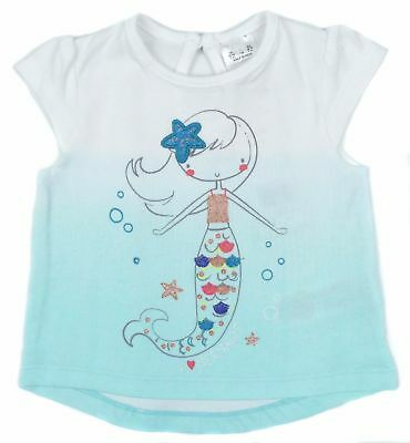 New Ex F&F Baby Girls 100% Cotton Summer Mermaid Top T shirt 0-1 To 18-24mths