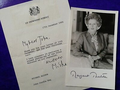 MARGARET THATCHER - Signed as Prime Minister  - Politics  - Autograph Photo 1984