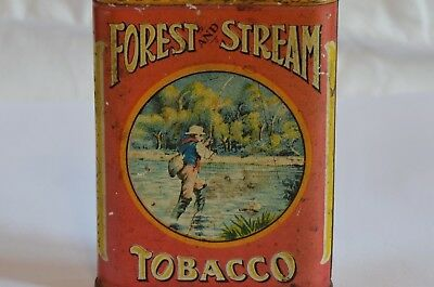 Forest and Stream Pocket Tobacco Tin Litho Lid - Fly Fisherman
