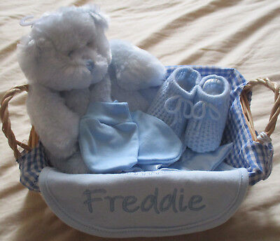 Personalised Embroidered New Baby Hamper Gift Basket Boy Girl - Gift Wrapped