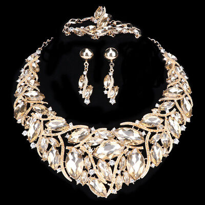 Austrian Champagne Crystal Party Jewelry Set Gold Plated Statement Necklaces Set