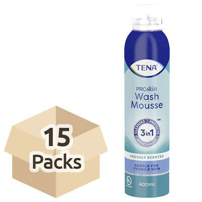 15x TENA Wash Mousse - 400ml - 3 in 1 Cleansing Body Wash