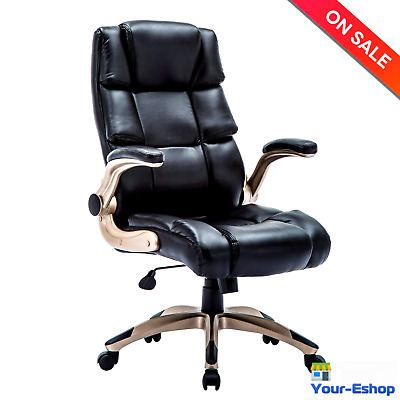 High Back Office Chair With Arms Lumbar Support Executive Chairs Seat PU Leather