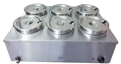 Electric Bain Marie Six 6 Large Round Pots 48 Litres Soup Food Sauce Warmer