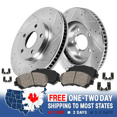 Front Drilled And Slotted Brake Rotors & Ceramic Pads 2009 - 2015 Toyota Venza