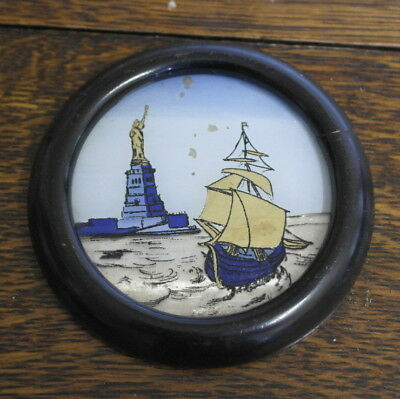antique small round wood foil backed PICTURE OF THE STATUE OF LIBERTY