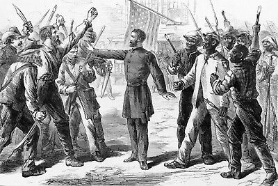 Drawing Shows Freedman's Bureau Agent Standing Between Whites and Freedmen