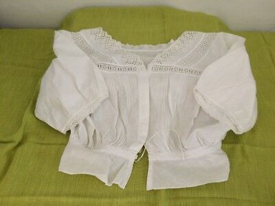 Antique White Cotton Chemise/Corset Cover Beautiful Lace/Anglaise Detail 1900's