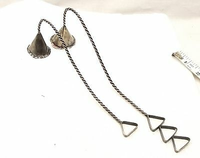 Vtg Sterling Silver Candle Snuffer Pair Handmade Twist Rope Handle Set Antique