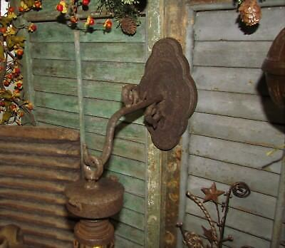 Primitive Antique Vtg Style Grungy Carriage Country Farm Light Wall Hanger Hook
