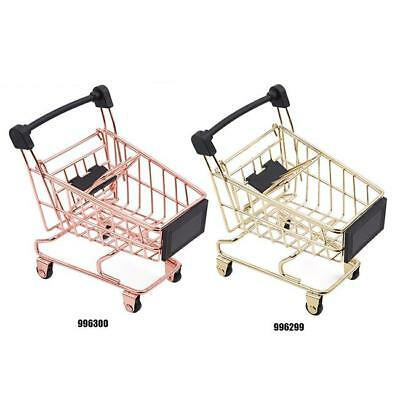 Mini Shopping Trolley Kid Play Toy Cart Supermarket Desk Tidy Storage Gift Toy H