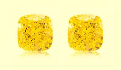 2 ZAFIROS CUSHION AMARILLO CANARIO 6x6 mm. BRILLO-DIAMANTE SUELTOS DUREZA 9