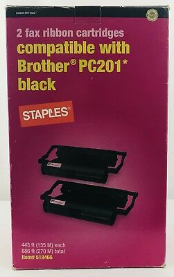 Staples 2 Fax Ribbon Cartridge Compatible With Brother PC201 Black