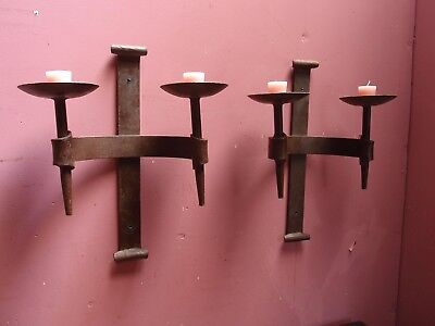 Large Antique French Pair Heavy Wrought Iron Wall Mounted Candle Sconces