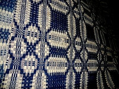 "Antique BLUE & WHITE 19 th C  WOVEN COVERLET, 93"" by 70"""
