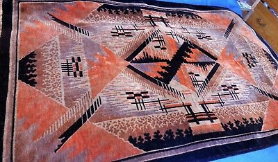 Original 1920's Art Deco Dutch Chenille Carpet,Rug,Throw,Wall Hanging~Mint