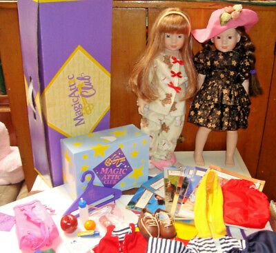 Magic Attic Club Lot 2 Dolls 1 Alison Box Clothing 7 Book Lot Megan Heather ++