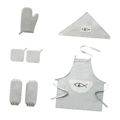 Kitchen Set 8pc Apron White Baking Oven Gloves Oil Resistance Sleeve Cooking