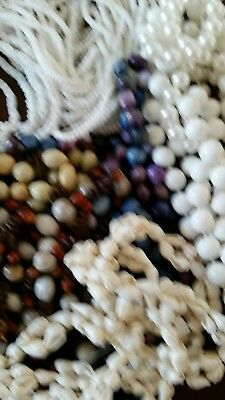 Estate Jewelry Lot Vintage Costume Necklaces beads shells broken for Crafts