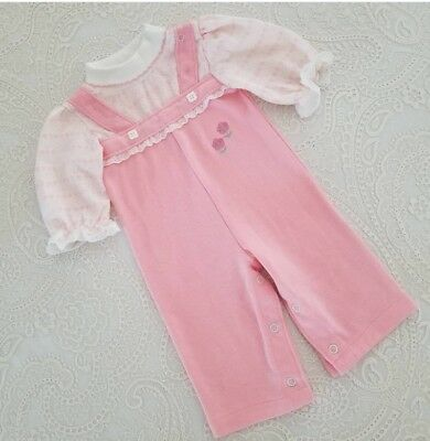 Vintage Baby Girl Pink Romper One Piece Outfit Childrens Clothes 6m Health Tex