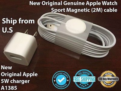 New Original Genuine Apple Watch Sport Magnetic (2M) cable with Apple 5W charger