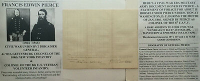 CIVIL WAR GENERAL GETTYSBURG COLONEL 108th NEW YORK DOCUMENT SIGNED 4x WOUNDED !